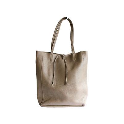 Tania Italian Taupe Leather Shopper Bag - £49.99