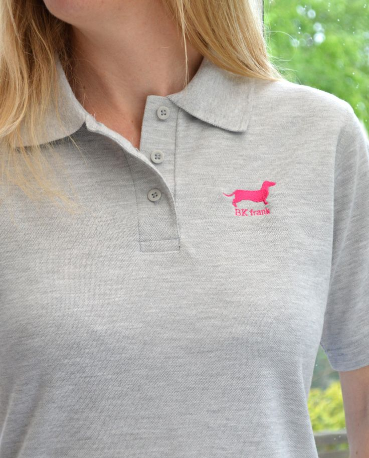 Here's our beautiful Pink Dachshund embroidery design on the Ladies Polo Shirt in Grey | Available from our online shop | £25 | Various size and colour options