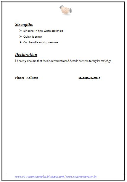resume format example page - Resume Formats Examples