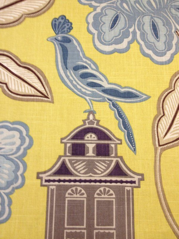 Chinoiserie Modern Scandinavian style Asian Bird House Floral large scale linen print linen fabric drapery fabric Lhd219