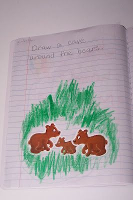 preschool journal - drawing prompt - draw a cave around the bears