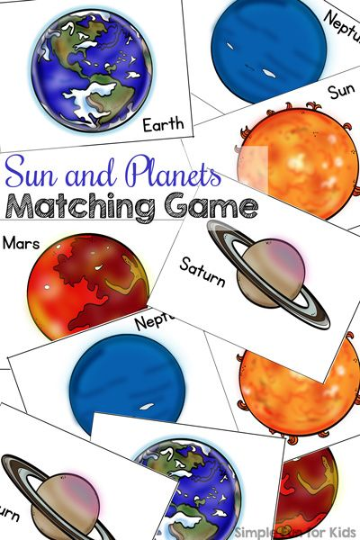 Are your kids fascinated by outer space? Print out this Sun and Planets Matching Game for your toddlers or preschoolers!