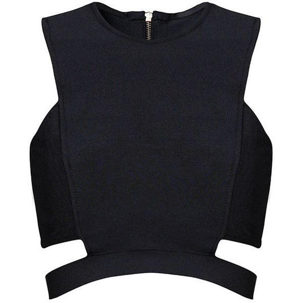 Posh Girl Black Cut Out Bandage Crop Top ($88) ❤ liked on Polyvore featuring tops, crop top, multi, posh girl, black crop top, cut-out tops and bandage top