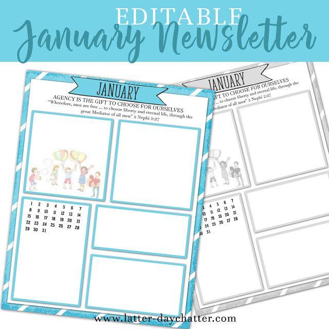 Latter-day Chatter Editable January 2017 Newsletter