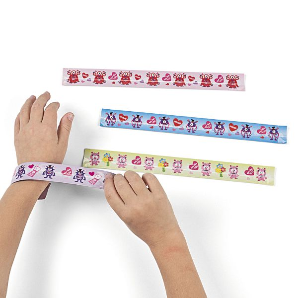 Valentine monster slap bracelets 12ct. great for party favors for the little ones./Wally's Party Factory #Valentine #Monster #Slap #Bracelets
