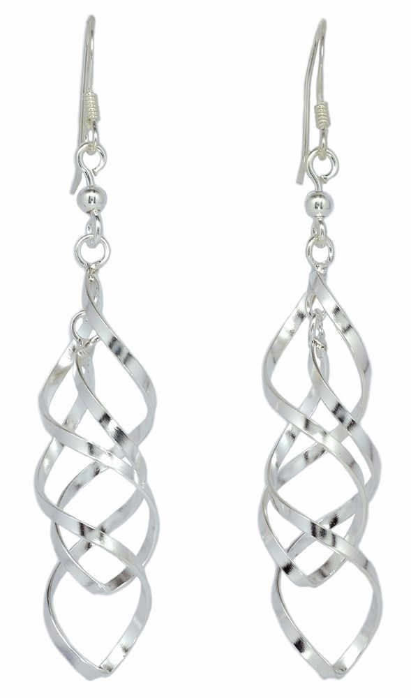 Twin Twist Dangle Women Earrings Fashion in 925 Sterling Silver [ISE0058] #BKGjewelry #DropDangle