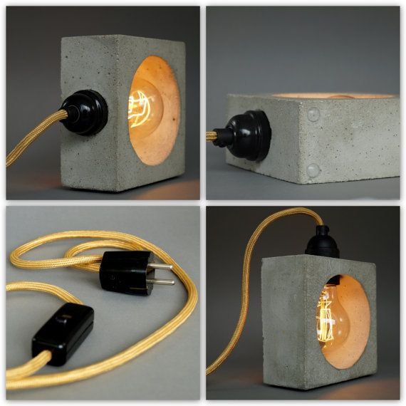 Concrete lamp. Table lamp. Nomad  The small table lamp / bedside lamp nomad is manufactured by us individually by hand from fine-pored concrete. It combines the rugged charm of the concrete with a timeless vintage Edison light bulb to an exceptional designer lamp. The quality bulb are doing from a very pleasant warm light.  With an edge length of 14 x 14 x 6,5 cm to nomad is both a single light object and eye-catcher, but also as a bedside lamp makes them a good figure.  Your minimalist ...