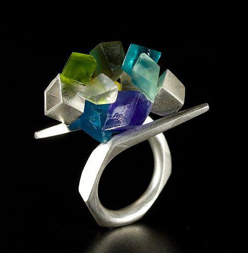 Oscar Abba, Ring: Crystal, 2011, silver, resins
