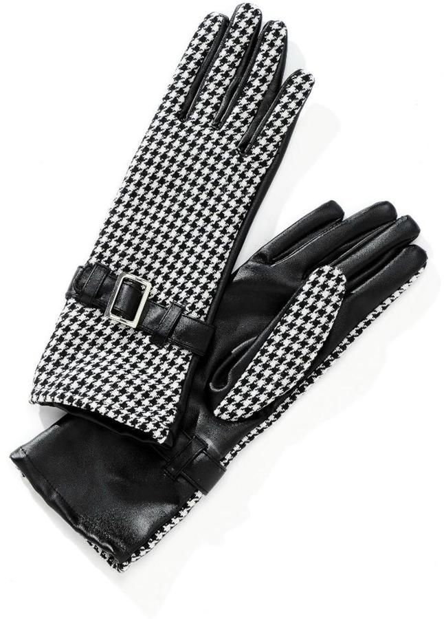 Charlie Paige Houndstooth Print Gloves
