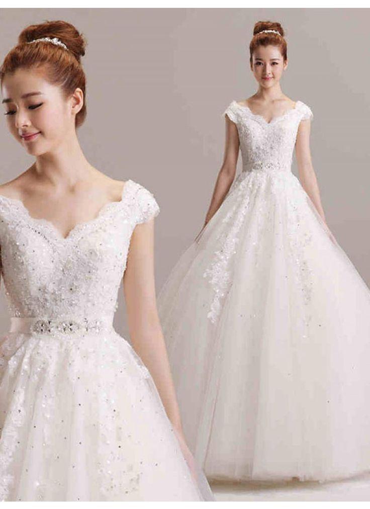 ウェディングドレス Aライン Vネック フロアレングス 挙式 ブライダル 結婚式 B14TB0076