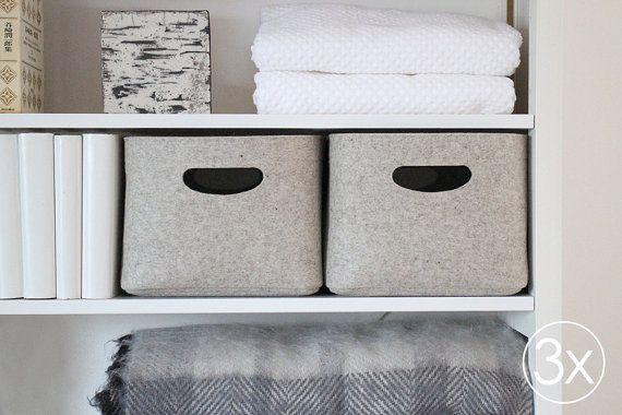 Large Size, Set of 3 / Custom-made Felt Storage Basket / Storage Box for a Shelf