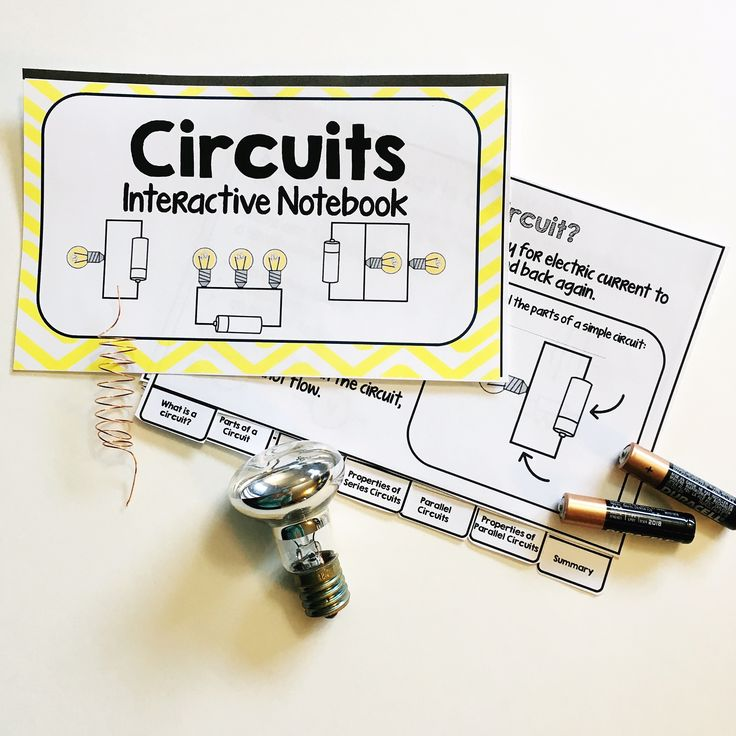 Circuits Interactive Notebook  This 7-tab interactive flipbook introduces students to circuits including parts of a circuit, schematic symbols and diagrams, series circuits, parallel circuits and properties of each.