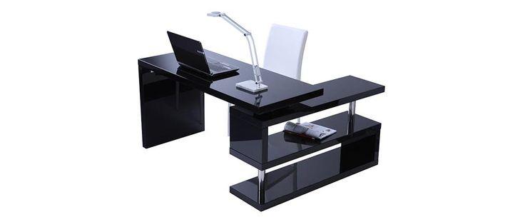 Bureau design noir laqué amovible MAX