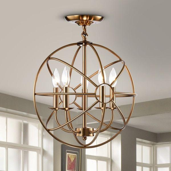 Benita 5-light Polished Brass Metal Strap Globe Flush Mount Chandelier