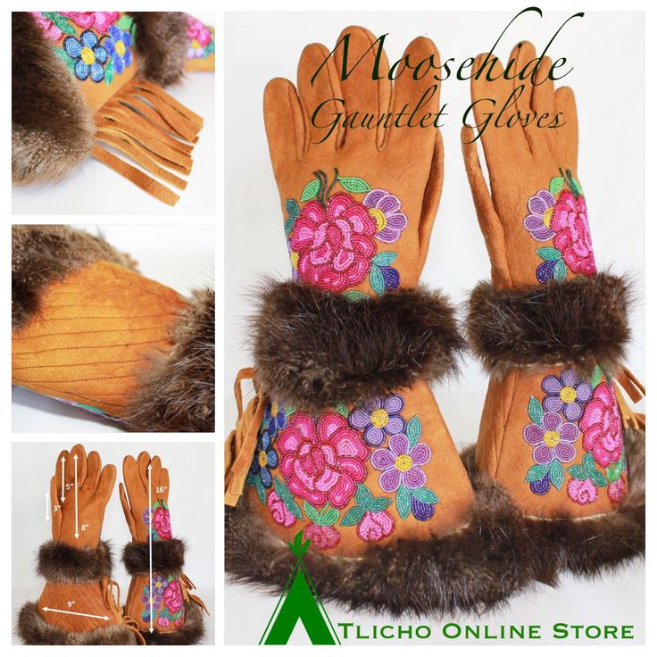 #Beautiful beaded #Moosehide #Gauntlet Gloves made in #Behchoko now available http://onlinestore.tlicho.ca