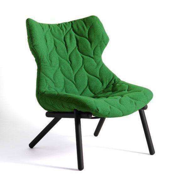 Foliage Fåtölj, Grön m. svarta ben, Tygstoppning, Kartell