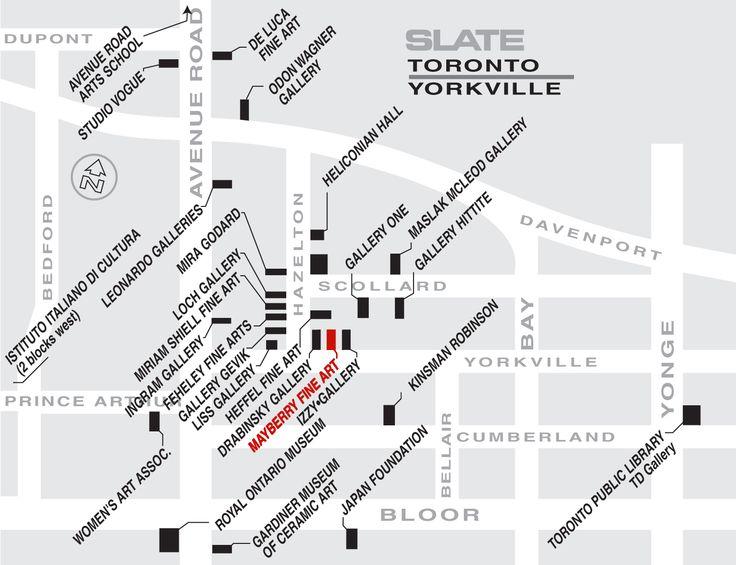 SLATE MAP:  TORONTO YORKVILLE ART GALLERIES.