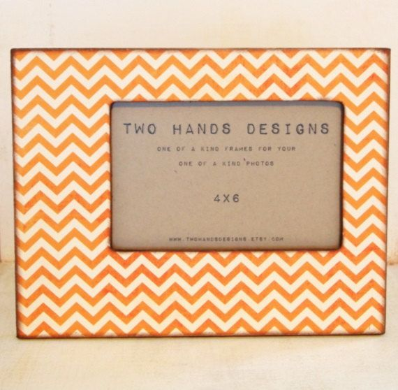 4x6 Orange and Cream Chevron Picture Frame by TwoHandsDesigns