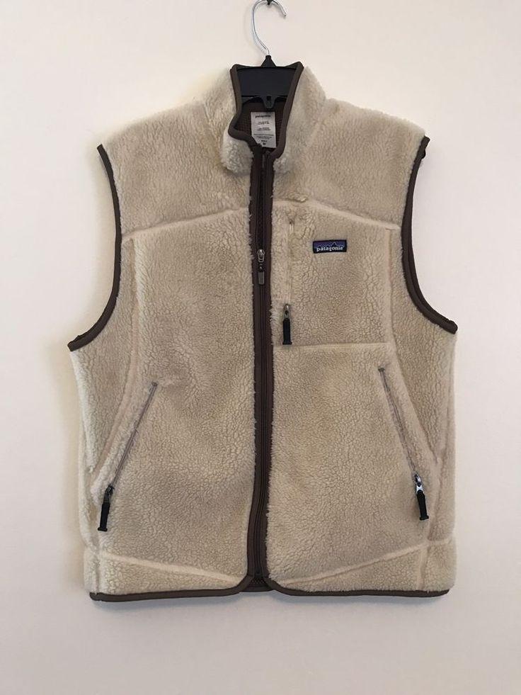 Men's Patagonia Cream Zip Up Vest with Brown Trim Size Medium  | eBay