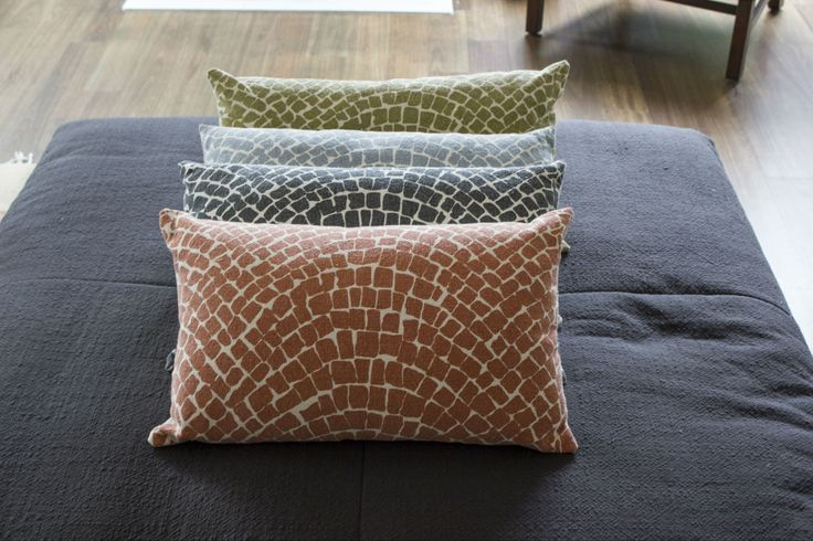 Aztec Cobblestone Cushions - Copper, Charcoal, Blue and Mustard