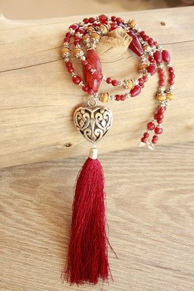 collana rossa con cuore by DeviBohoJewellery on Etsy
