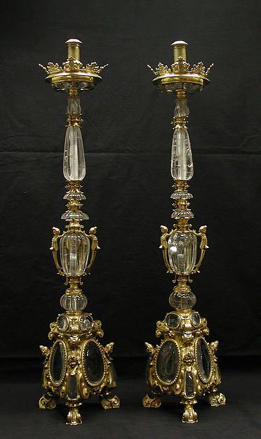 Pair of altar candlesticks - Date: ca. 1620–40 Culture: Italian Medium: Gilt bronze, rock crystal Classification: Metalwork-Gilt Bronze Credit Line: Bequest of Mary Stillman Harkness, 1950