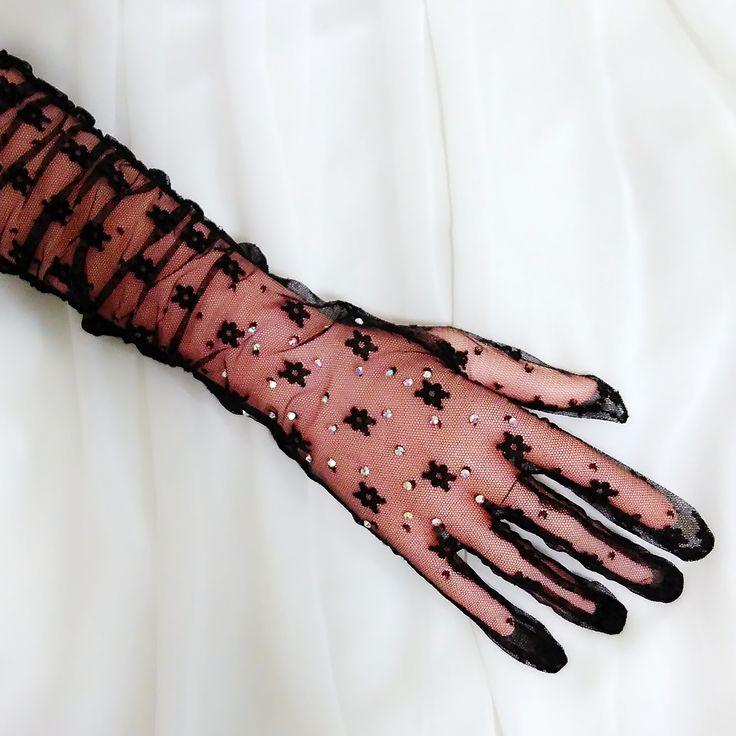 Black rhinestone bridal gloves, Wedding gloves, Lace gloves, Long gloves, Prom gloves, Elbow length gloves, Bridesmaid gloves,Floral mittens