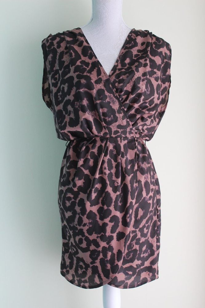 Size 10 Brown Leopard Print Dress by GLAMOROUS Wrap Look Elasticated Waist
