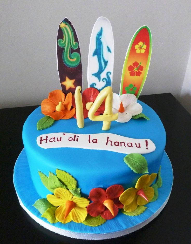 "Maybe this was for a surfer at Tynemouth, but this birthday cake certainly has a very Hawaiian theme with 3 surfboards and flowers from the island. Why is the music from ""Hawaii Five-O"" running through my head suddenly?   hawaiian surfboard birthday cake"