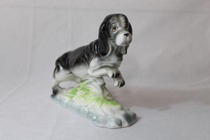 "Vintage Pacific Japan 6.5"" tall Basset Hound Figurine Ceramic Porcelain Black"