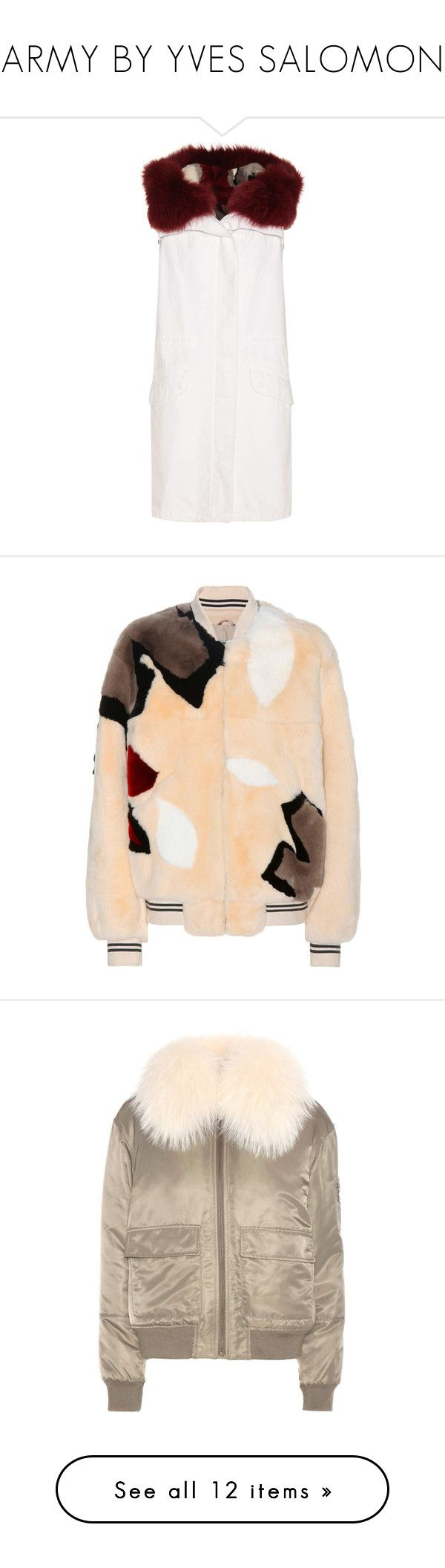 """ARMY BY YVES SALOMON"" by mari-sv ❤ liked on Polyvore featuring outerwear, vests, jackets, multicoloured, reversible vest, white vest, white fur vests, white waistcoat, fur waistcoat and multi color fur jacket"