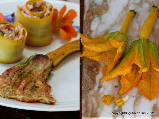 grain de sel - salzkorn: Gebratene Zucchiniblüten und gratinierte Tomaten
