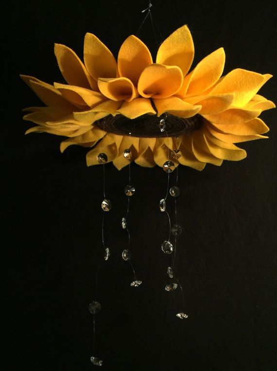 Sunflower mobile felt sunflower crystal mobile by c3homecreations $29