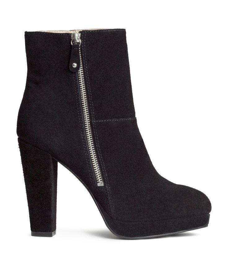 PREMIUM QUALITY. Premium-quality suede boots with high heel, platform, and side zip. | H&M Shoes