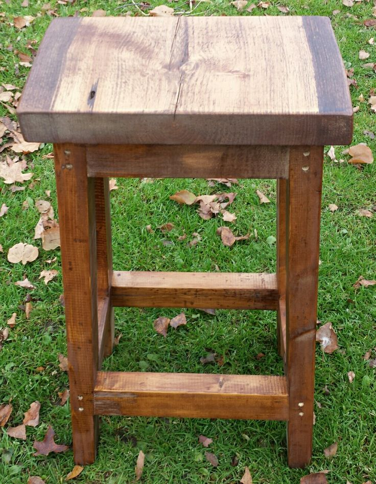 Live Edge Topped Bar Stools With Reclaimed Wood Base.