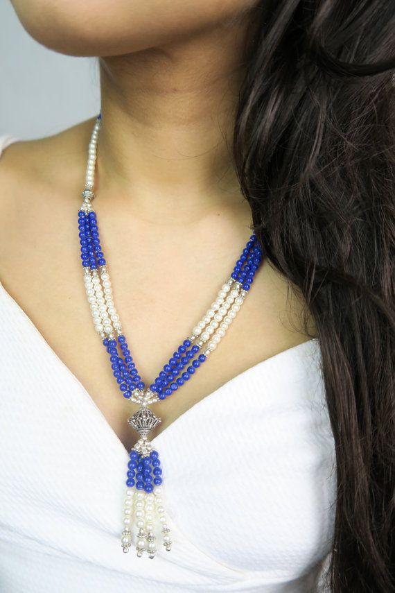 Boho Style Fashion Chic Handmade semi precious blue/silver statement necklace  Sapphire by SZJewels