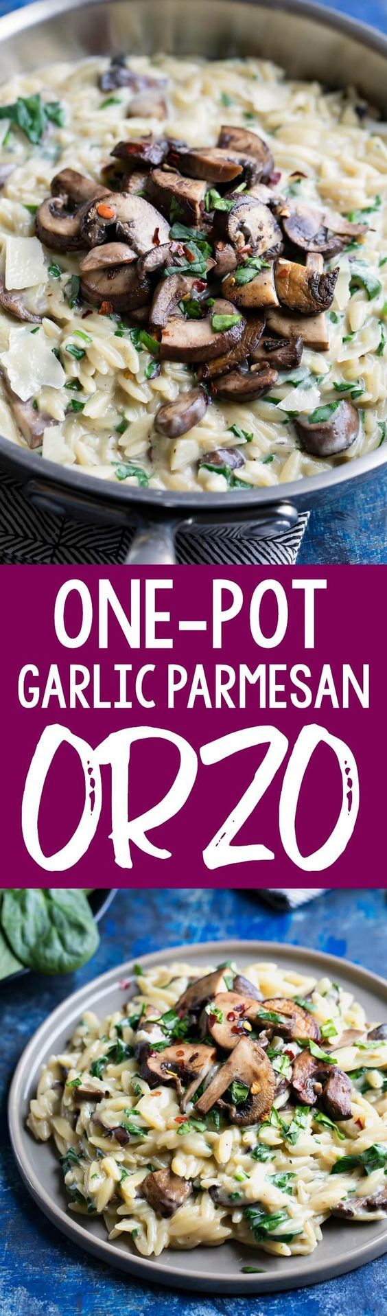 This One-Pot Garlic Parmesan Orzo with Spinach and Mushrooms is blanketed in a totally luscious sauce and swirled with veggies. This tasty vegetarian side dish also double as a main course! #onepot #onepan #pasta