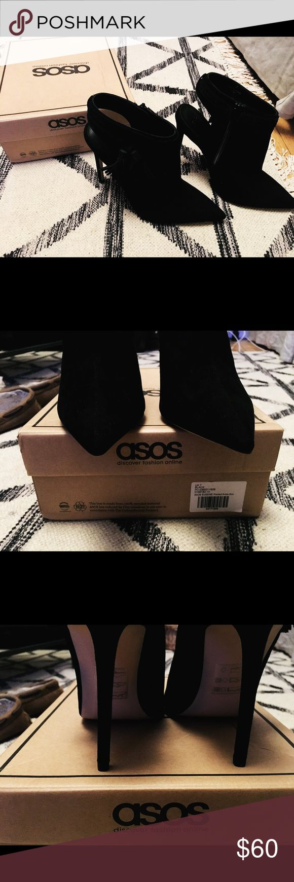ASOS EUGENIE Black Pointed Ankle Boots. Zipper has tassel on the side of each shoe. Never worn. Original box included. ASOS Shoes Ankle Boots & Booties