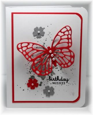 The card - butterfly is a die cut from SU.  The stamped 'grunge' in the background is also from SU.  The small flowers a...