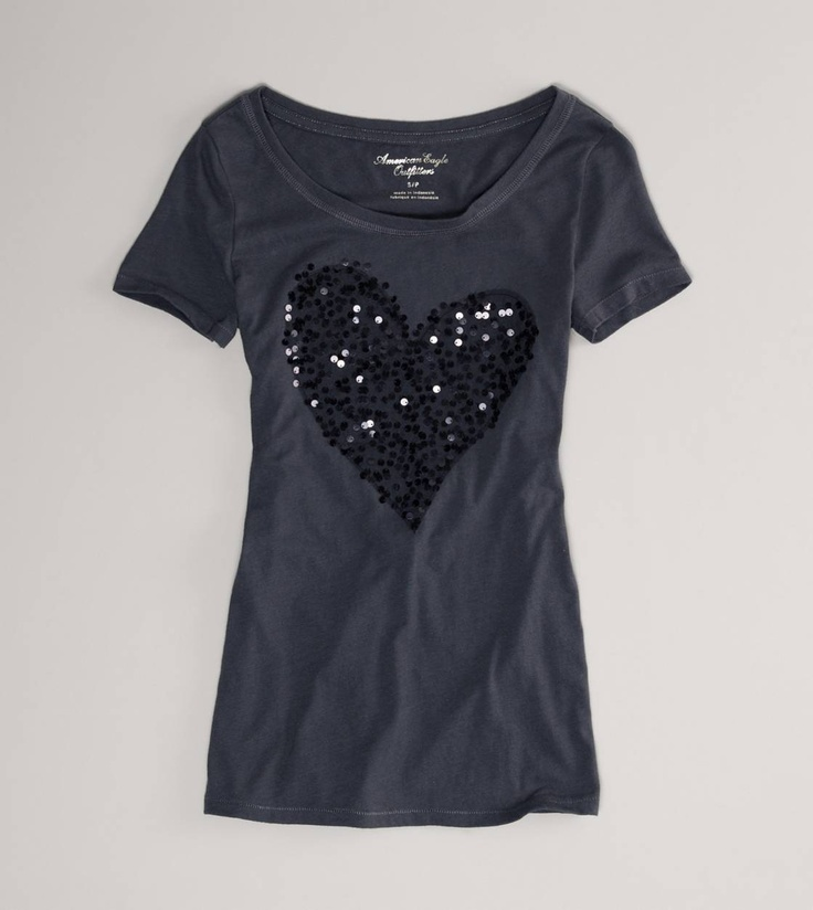 AE Sequined Heart T
