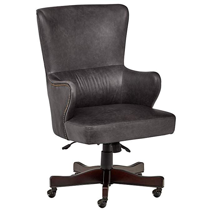Stone Beam Benton Leather Swivel Office Chair With Wheels 28 4 W Black Review Leather Office Chair Swivel Office Chair Office Chair