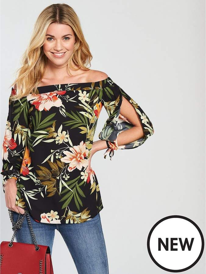 V By Very Floral Bardot Top  #ads, #shopstyle, #women, #floral, #bardot, #shop