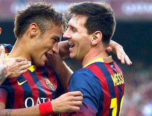 Neymar e Messi comemoração Barcelona jogo Real Madrid (Foto: Reuters)