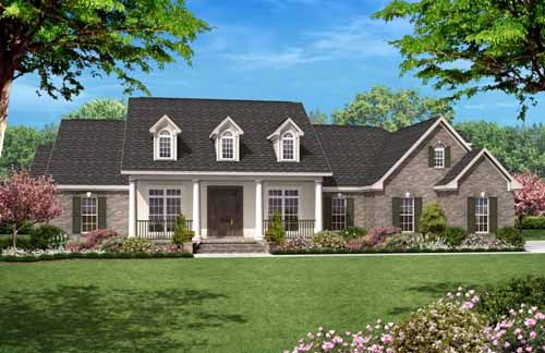 Country Style House Plans - 2500 Square Foot Home , 1 Story, 4 Bedroom and 3 Bath, 2 Garage Stalls by Monster House Plans