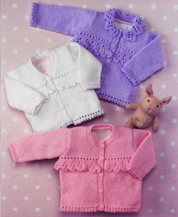 Double Knitting Pattern Cardigans Wool 0 To 6 Years Baby 41-66 cm 16-26 inch