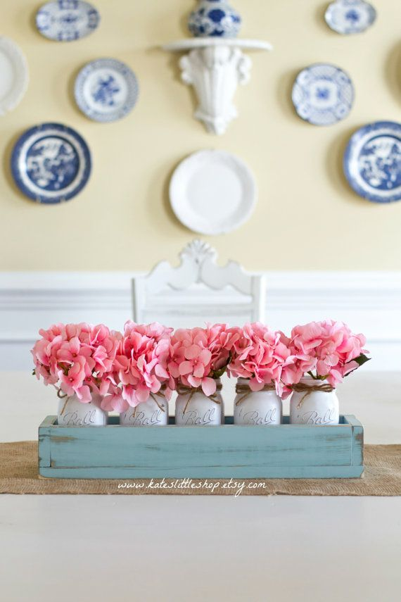 Jardinera rústica caja con 5 frascos de albañil por KatesLittleShop