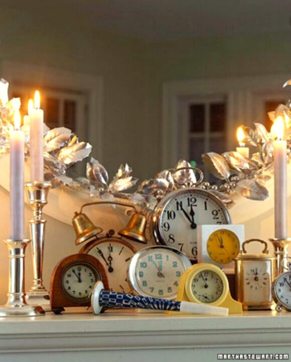 New Years Decorating Ideas: Use clocks & candles for a great New Year's Mantle.