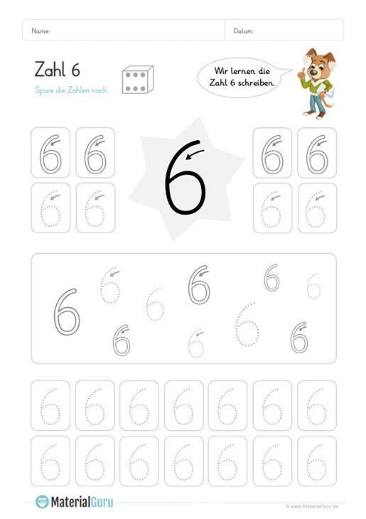 ein kostenloses mathe arbeitsblatt zum schreiben lernen der zahl 6 auf dem die kinder. Black Bedroom Furniture Sets. Home Design Ideas