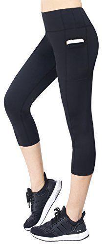 Neonysweets Women's Capri Workout Leggings With Pocket Running Yoga Pant...