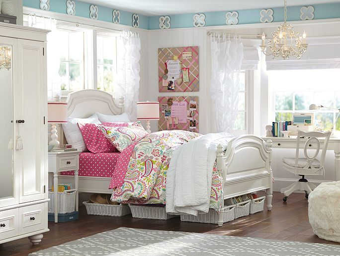 PBteen Coraline Swirly Paisley Bedroom on pbteen.com  Like the playful mix of polka dot and paisley for Aubrie's room.